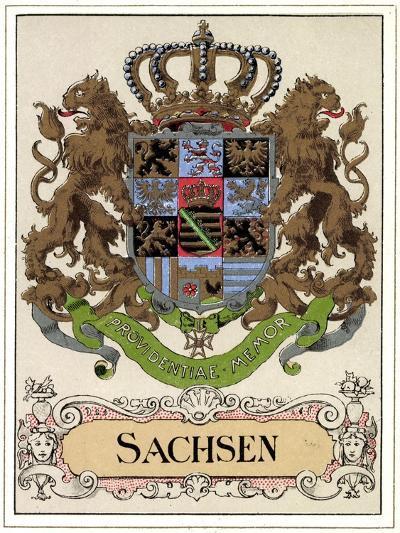 Wappen Litho Sachsen Wettiner, Providentiae Memor--Giclee Print
