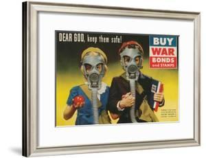 War Bonds Poster, Children in Gas Masks