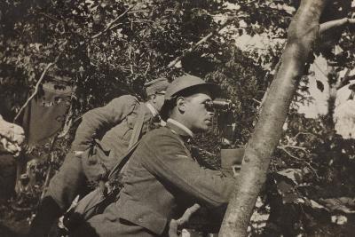 War Campaign 1917-1920: Asiago Plateau-Range Mezzavia June 1918, a Soldier with Binoculars--Photographic Print