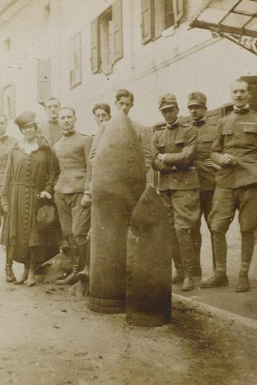 War Campaign 1917-1920: Campolongo January 1919 , Group Photo in Front of Big Bullets--Photographic Print