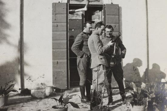 War Campaign 1917-1920: Officers Magnoni, Ranucci and Brusati with a Telescope--Photographic Print