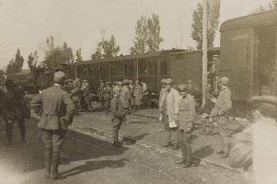 War Campaign 1917-1920: Soldiers at the Train Station of Cervignano Del Friuli--Photographic Print