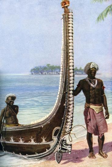 War Canoe, Solomon Islands, C1923-HJ Shepstone-Giclee Print