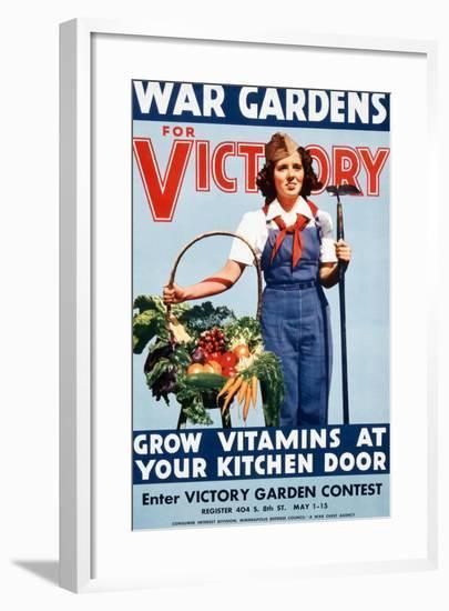 War Gardens For Victory Grow Vitamins At Your Kitchen Door-War War Department-Framed Art Print