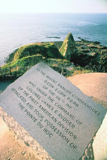 War Memorial at the Pointe Du Hoc Near Omaha Beach, Normandy, France-Peter Thompson-Photographic Print