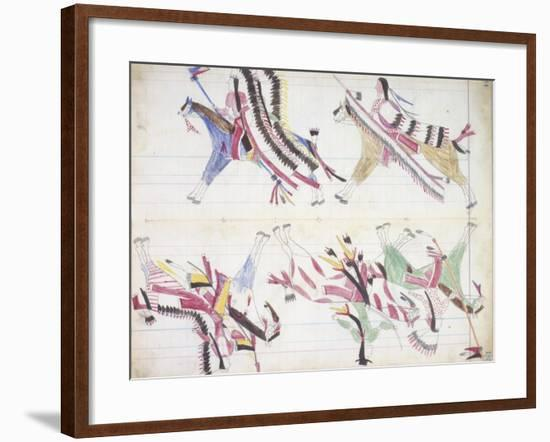 War Party Coming Home, Illustration from the 'Black Horse Ledger', 1877-79--Framed Giclee Print