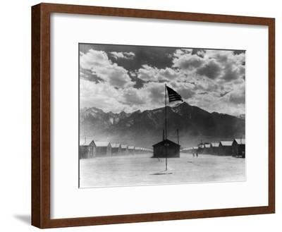 War Relocation Authority Center, Where Evacuees of Japanese Ancestry of WWII Reside-Dorothea Lange-Framed Premium Photographic Print
