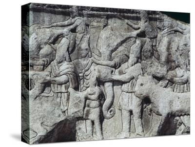 War Scene with Elephants, Detail from Relief on Arch of Galerius, Ca 297--Stretched Canvas Print