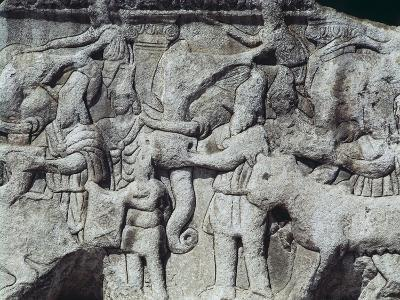 War Scene with Elephants, Detail from Relief on Arch of Galerius, Ca 297--Giclee Print