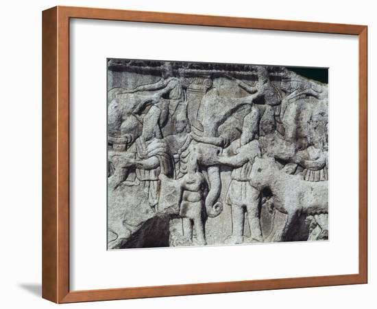 War Scene with Elephants, Detail from Relief on Arch of Galerius, Ca 297--Framed Giclee Print