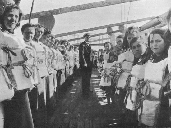 'War time lifebelt drill on board an ocean liner', 1915-Unknown-Photographic Print