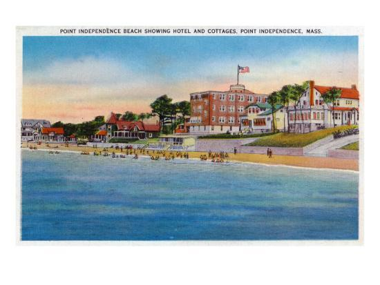 Wareham, Cape Cod, MA, Point Independence View of Beach, Hotel, Cottages-Lantern Press-Art Print