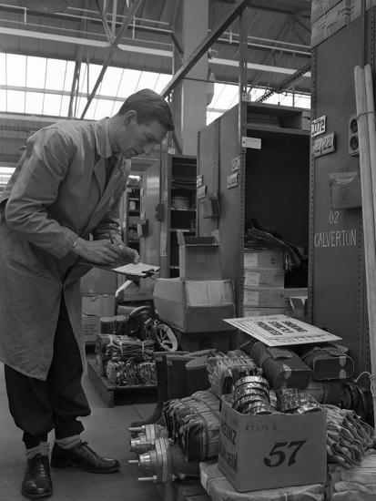 Warehouseman Checking Stock in the Stores at Bestwood Colliery, North Nottinghamshire, 1962-Michael Walters-Photographic Print