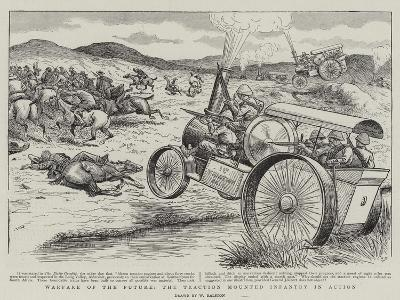 Warfare of the Future, the Traction Mounted Infantry in Action-William Ralston-Giclee Print