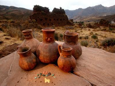 Wari Face Neck Jars and Painted Vessels, Cache, Empires of the Sun, Huari, Peru-Kenneth Garrett-Photographic Print
