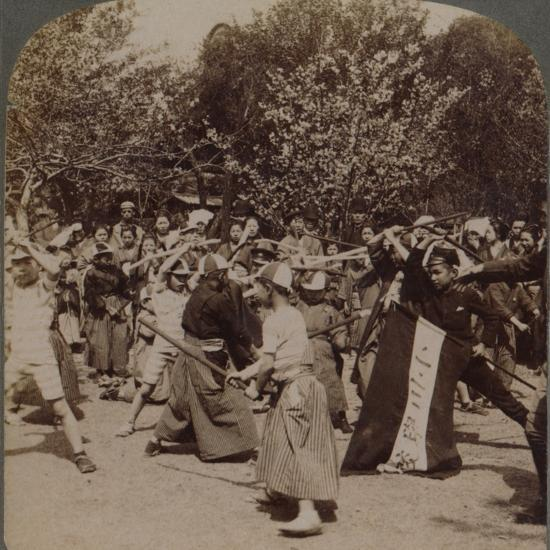 'Warlike spirit of youthful Japanese Schoolboys in Ueno Park, Tokyo, Japan', 1904-Unknown-Photographic Print