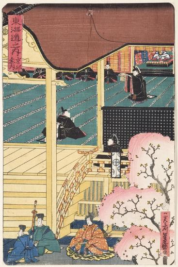 Warlord at Court, Three Samurai Warrior with an Attendant Approaching the Palace, C.1500--Giclee Print