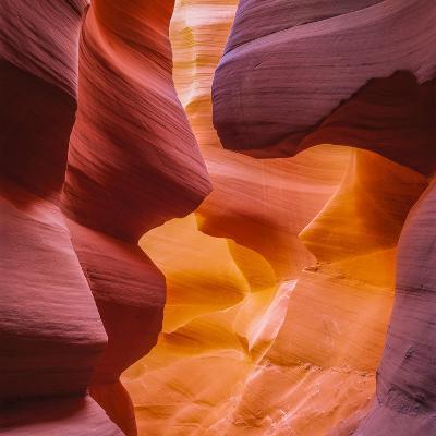 Warm Light Glowing on the Sandstone Walls of Lower Antelope Canyon Near Page, Arizona-John Lambing-Photographic Print