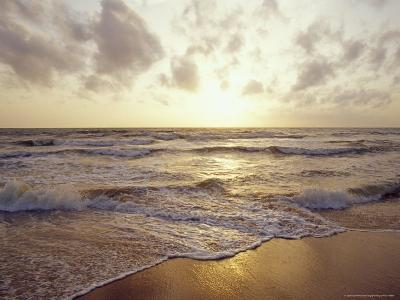 Warm Seas and Waves Roll onto a Tropical Island Beach at Sunset-Jason Edwards-Photographic Print