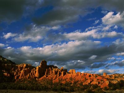 Warm Sunlight Washes over the Landscape of Cliffs in Utah-Barry Tessman-Photographic Print