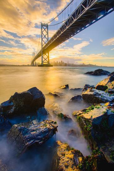 Warm Sunset Bay View San Francisco, Under Bay Bridge-Vincent James-Photographic Print