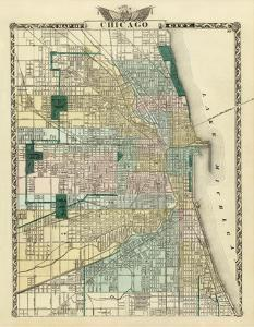 Map of Chicago City, c.1876 by Warner & Beers