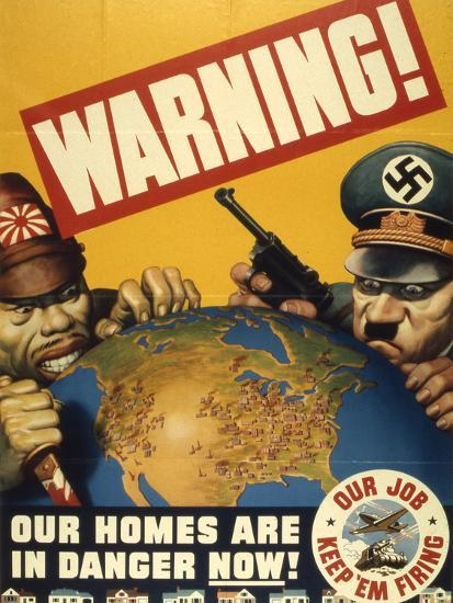 Warning. Our Homes are in Danger Now. WWII Poster, 1942--Giclee Print