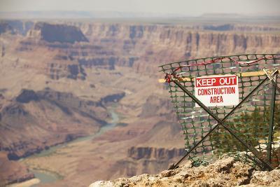 Warning Sign at Grand Canyon National Park, Arizona-John Burcham-Photographic Print