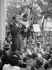 Attorney General Bobby Kennedy Speaking to Crowd in D.C. by Warren K. Leffler