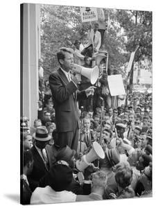 Attorney General Bobby Kennedy Speaking to Crowd in D.C. by Warren K^ Leffler