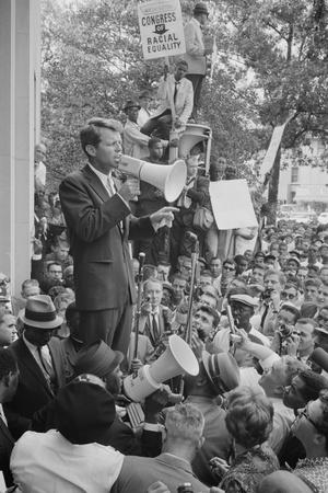 Attorney General Robert F Kennedy speaking to a crowd of Civil Rights protestors, 1963