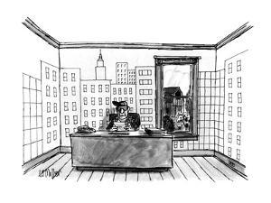 A farmer sitting in his office, wallpapered with a depiction of an urban s? - New Yorker Cartoon by Warren Miller