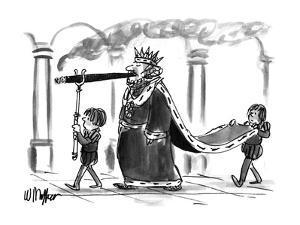 A king walking, smoking a cigar. One boy attendant behind him carries his ? - New Yorker Cartoon by Warren Miller