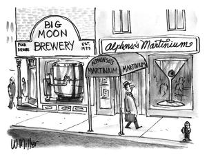 """A smiling man walks down the street past the """"Big Moon Brewery"""" and """"Alpho…"""" - New Yorker Cartoon by Warren Miller"""