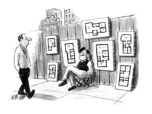 Artist on sidewalk selling floor plans and elevations. - New Yorker Cartoon by Warren Miller