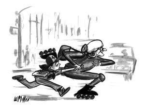 Boy scout can barely keep up with an old woman who is zipping across the s? - New Yorker Cartoon by Warren Miller