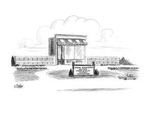 """Building which looks like a giant version of a grocery store has the sign,?"""" - New Yorker Cartoon by Warren Miller"""