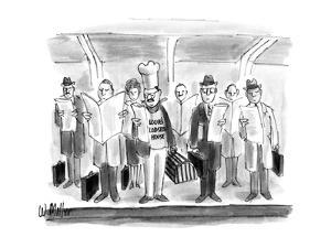 Chef with hat and lobster trap on subway stop with businessmen with briefc? - New Yorker Cartoon by Warren Miller