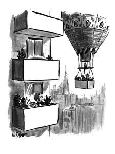 Couple out on high-rise balcony watching as a balloon carrying a balcony p? - New Yorker Cartoon by Warren Miller