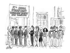 """Four Punk Women at """"37th Annual McHenry County Barber Shop Quartet Open Co? - New Yorker Cartoon by Warren Miller"""