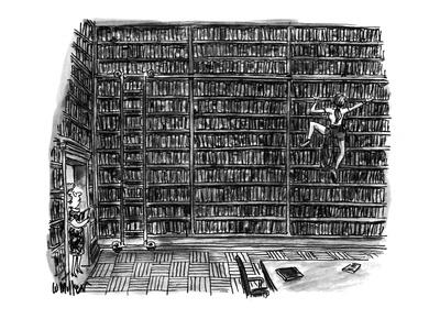 Huge library room, with books from floor to ceiling, is scaled by a woman ? - New Yorker Cartoon