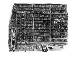 Huge library room, with books from floor to ceiling, is scaled by a woman ? - New Yorker Cartoon by Warren Miller