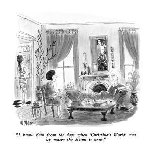 """""""I know Beth from the days when 'Christina's World' was up where the Klimt?"""" - New Yorker Cartoon by Warren Miller"""