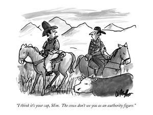 """""""I think it's your cap, Slim.  The cows don't see you as an authority figure."""" - New Yorker Cartoon by Warren Miller"""