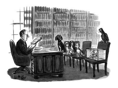 Lawyer reads will to pets. Dogs, fish, and bird look angry, cat looks plea? - New Yorker Cartoon