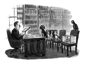 Lawyer reads will to pets. Dogs, fish, and bird look angry, cat looks plea? - New Yorker Cartoon by Warren Miller