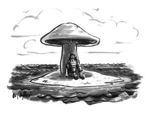 Leprechaun sits under giant mushroom on tiny desert island. - New Yorker Cartoon by Warren Miller