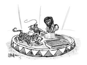 Lion tamer, with raised whip, directs a tiger toward a large litter box. - New Yorker Cartoon by Warren Miller