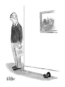 Man notices baby mouse in basket outside mouse hole. - New Yorker Cartoon by Warren Miller