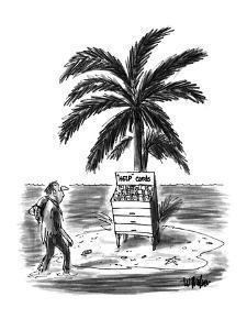 "Man on desert island sees rack of ""Help"" Cards. - New Yorker Cartoon by Warren Miller"